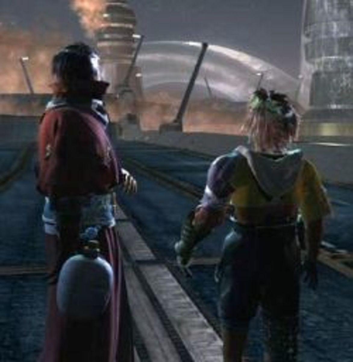 Auron and Tidus in Zanarkand