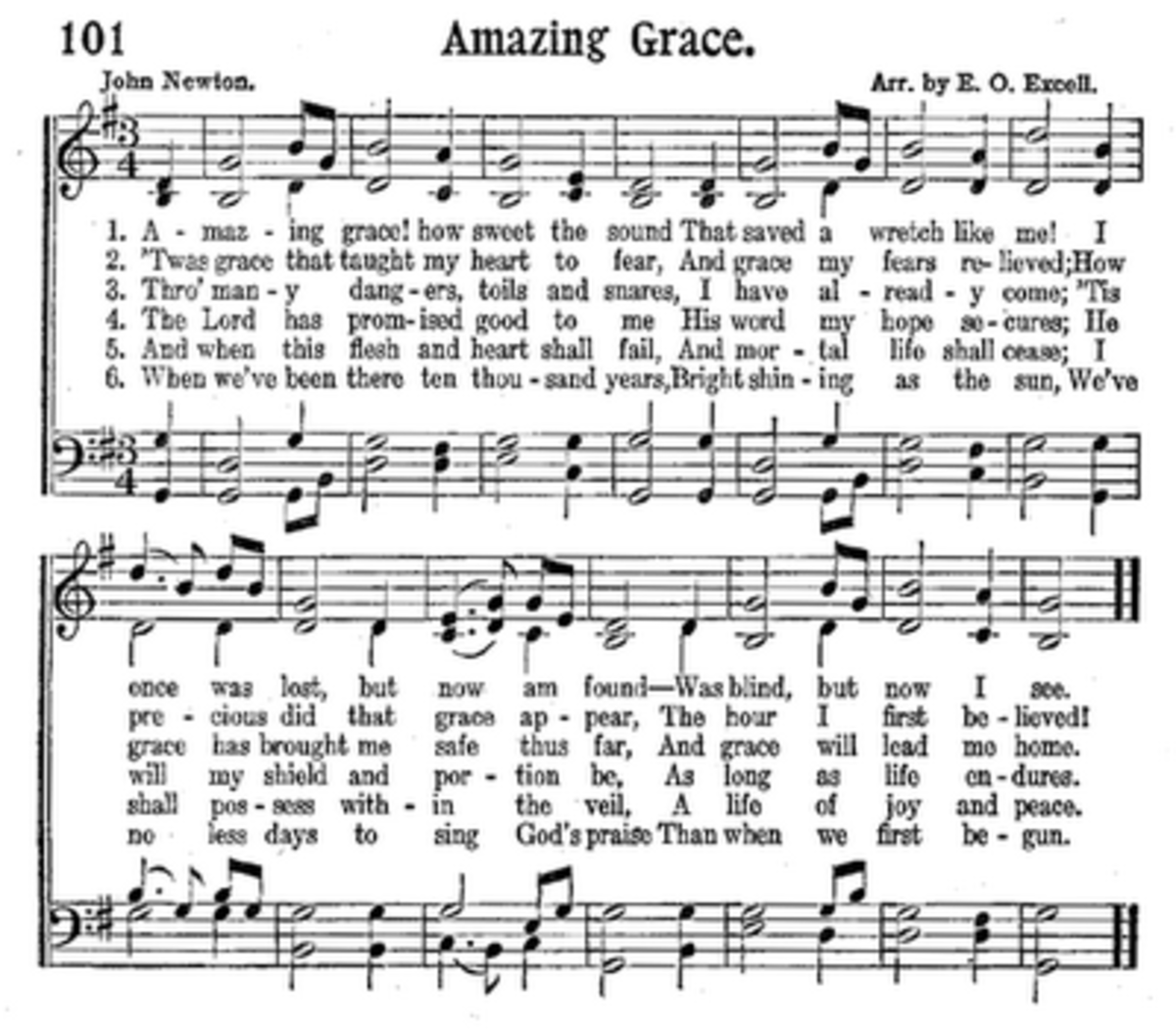 Amazing Grace Free Piano Sheet Music With Lyrics: Amazing Grace In 50 Languages