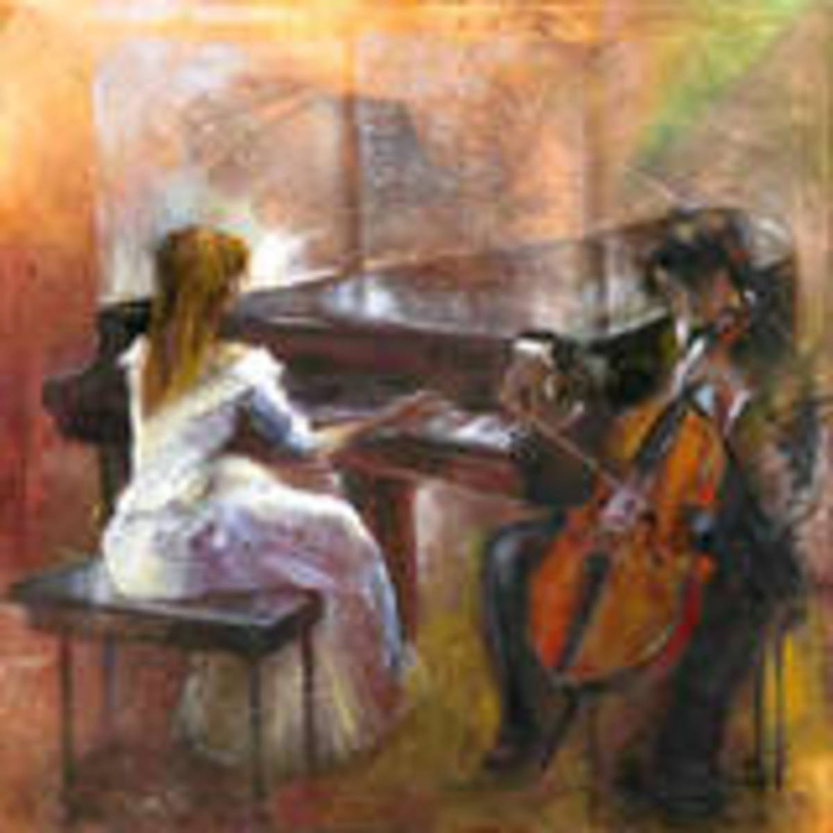 Performing music on a grand piano and cello.
