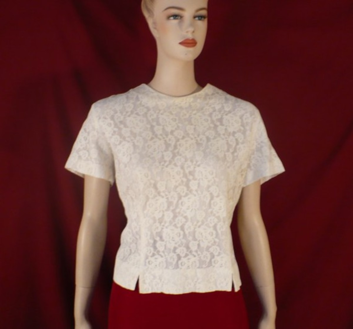 Vintage White Lace Blouse from the '40s.  For Sale on Etsy.