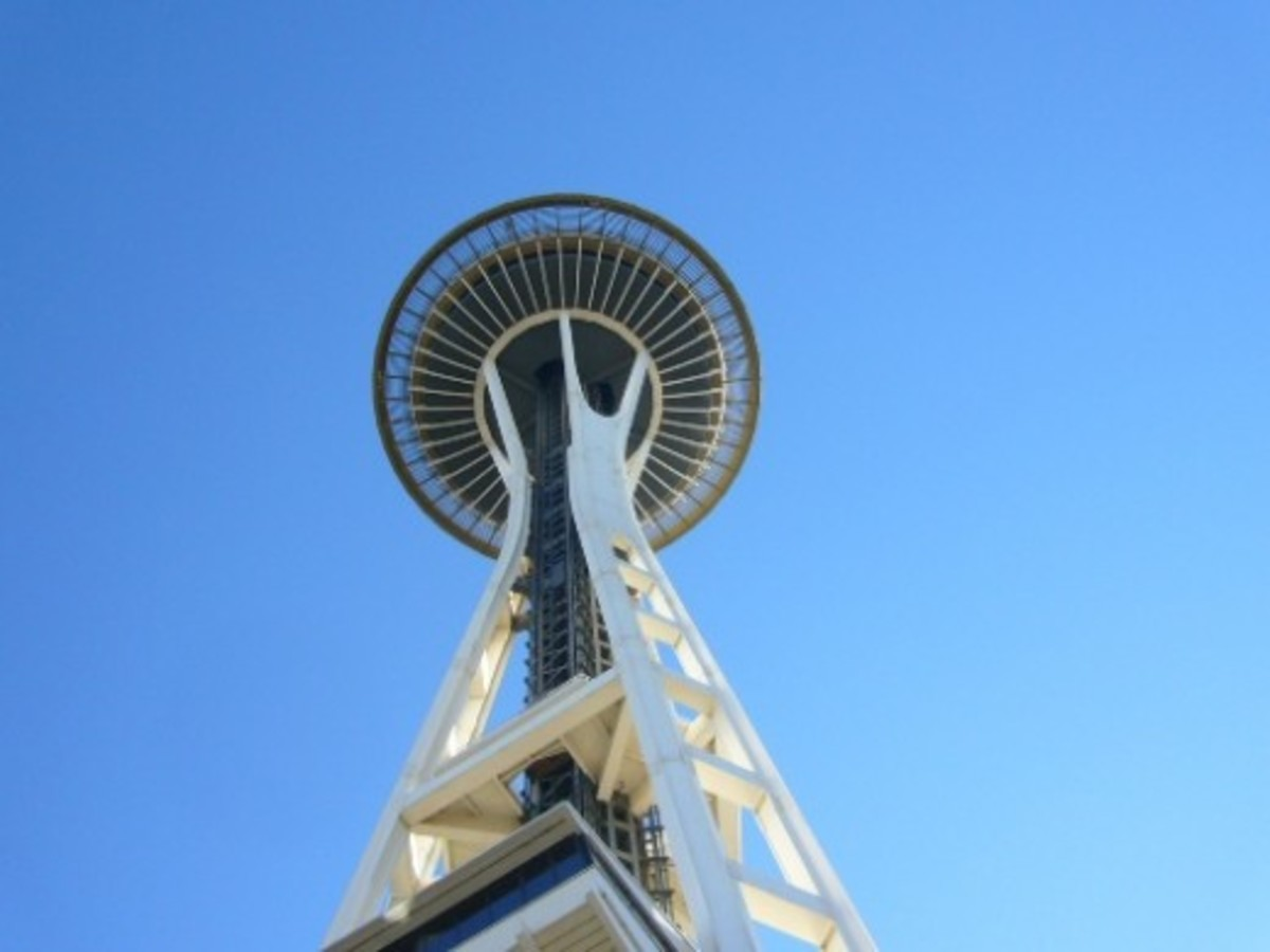 Looking up from the base of the Space Needle -Seattle, WA