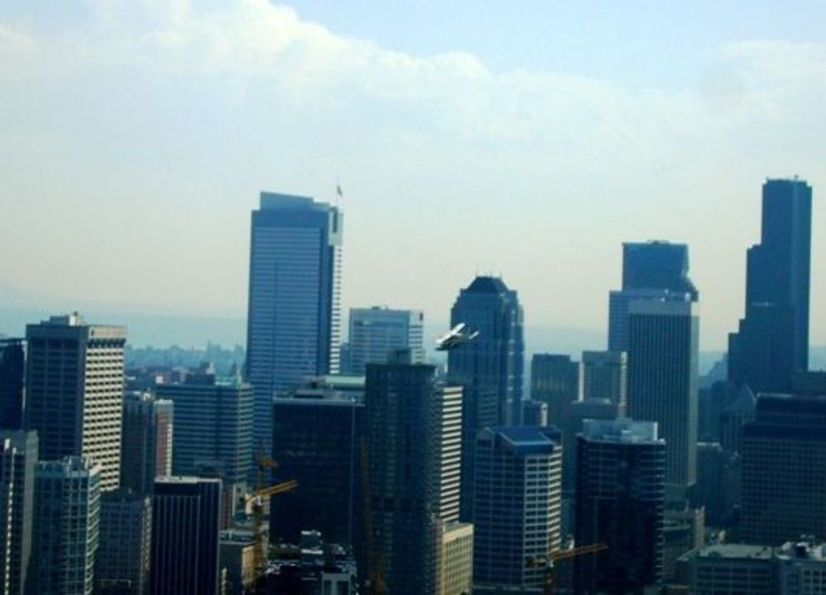 The skyline of the downtown area
