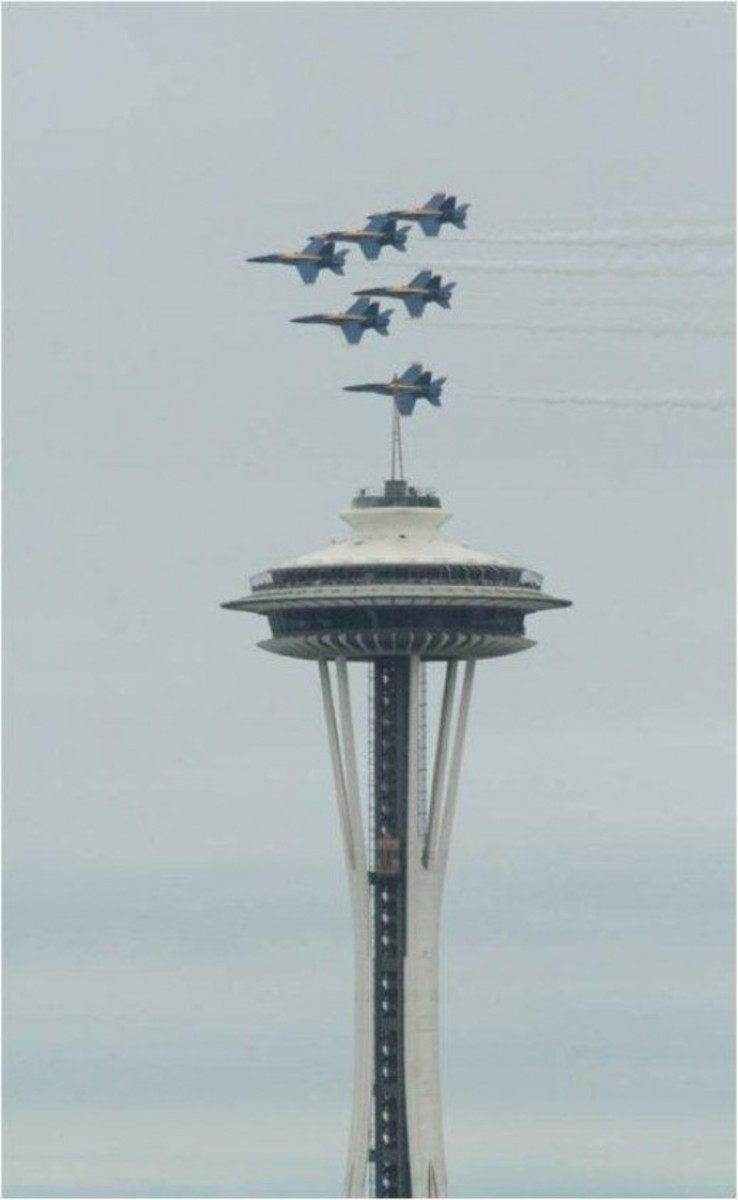 Blue Angels Over Seattle Space Needle