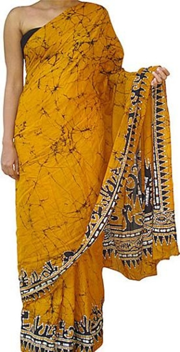 Batik saris, they come in many colors and patterns, excellent for beach wedding