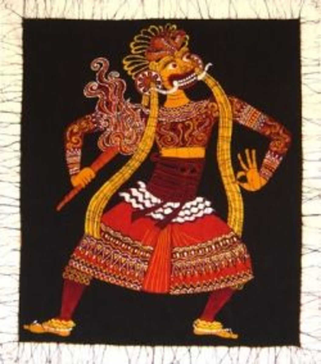 Batik wall hanging of Kandyan dancer