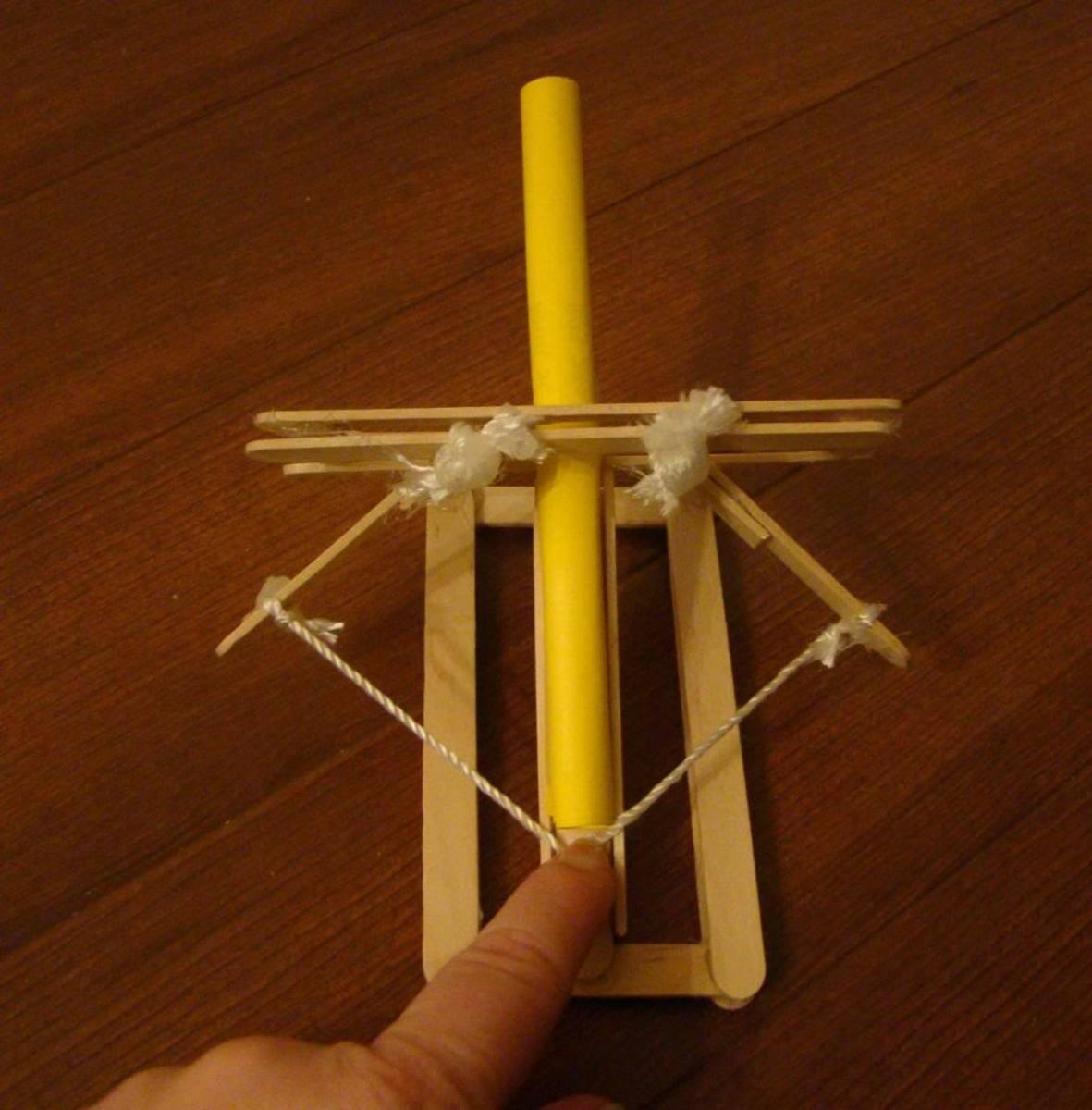 Homemade Ballista Catapult with homemade paper dart