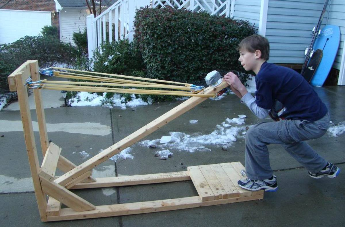My son working the catapult.