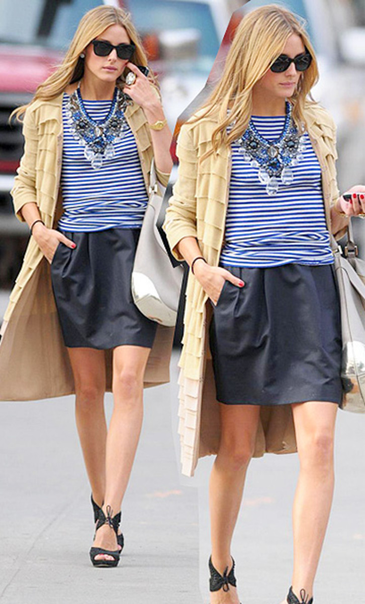Olivia Palermo: Chunky necklaces are AMAZING third pieces which can turn your outfit from casual to dressy by themselves. But remember, don't over accessorize when you wear a chunky necklace else things might look too bulky.