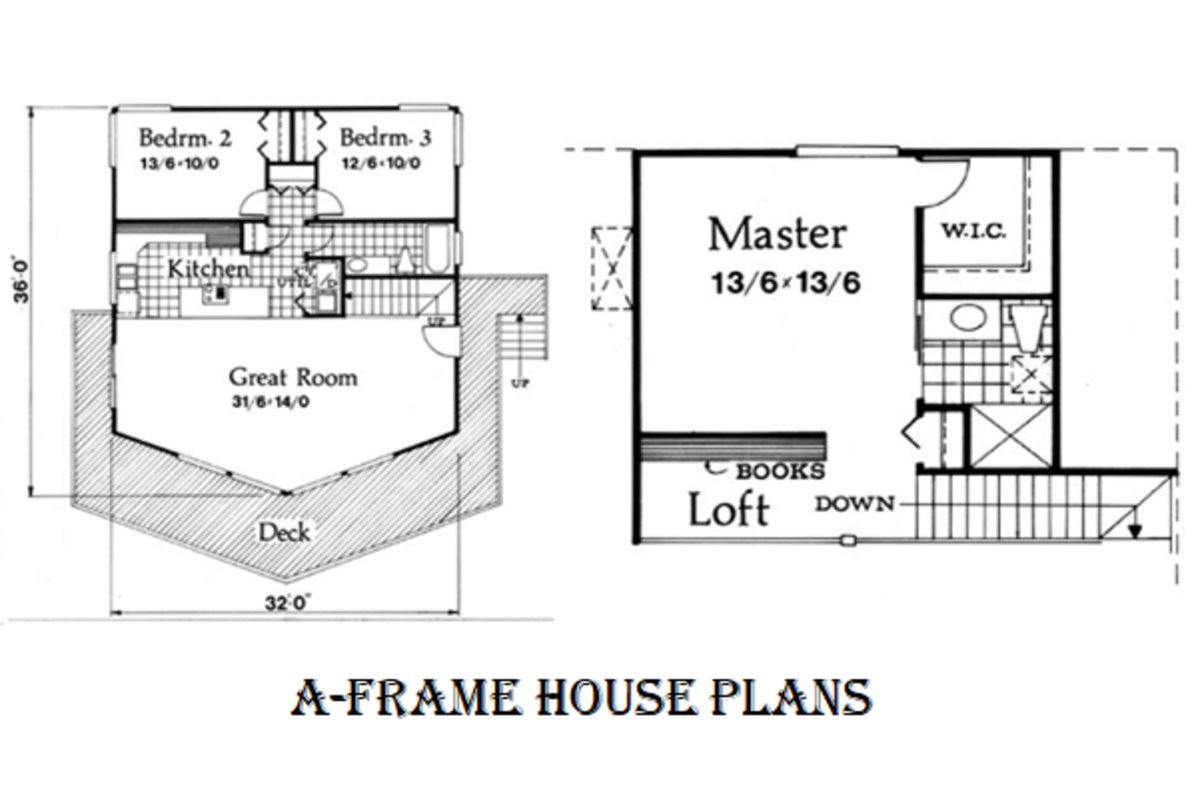 A floor plan of a simple three bedroom A-frame house with an upper floor ensute master bedroom with a kitchenette, a loft, and a sizeable entertainment deck.