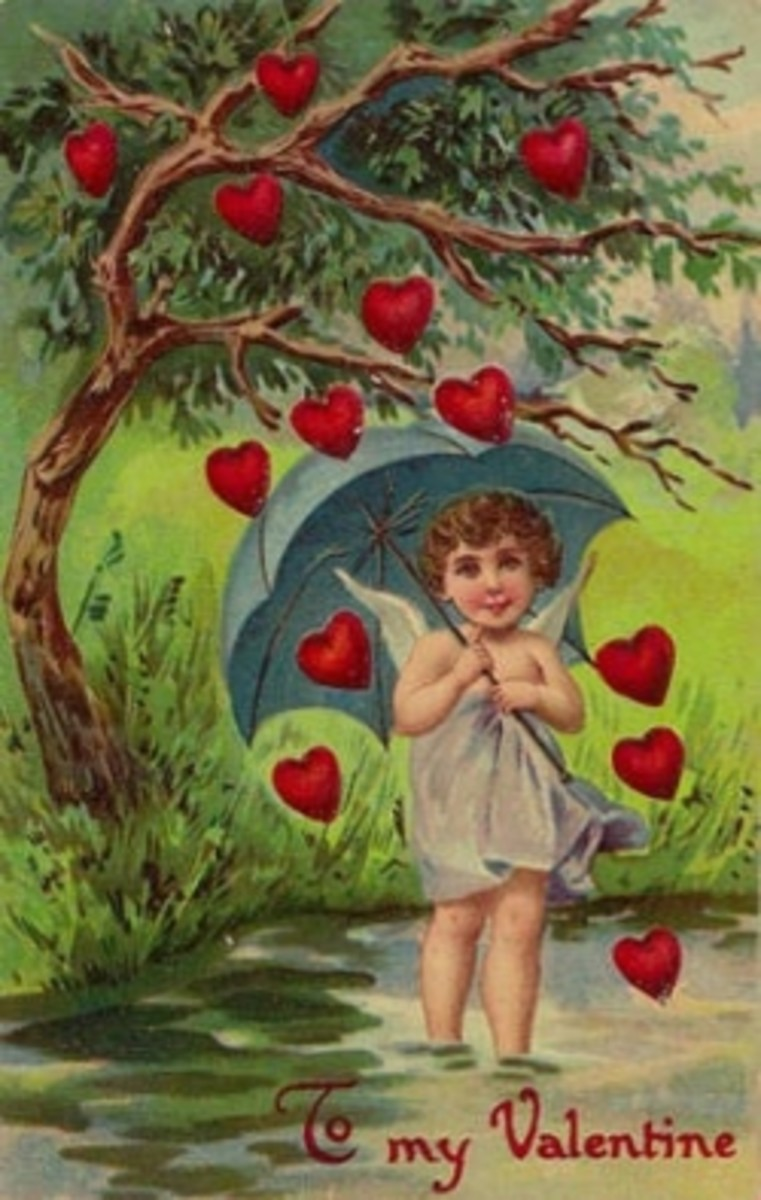 Vintage Valentine Postcard, Cupid with Umbrella