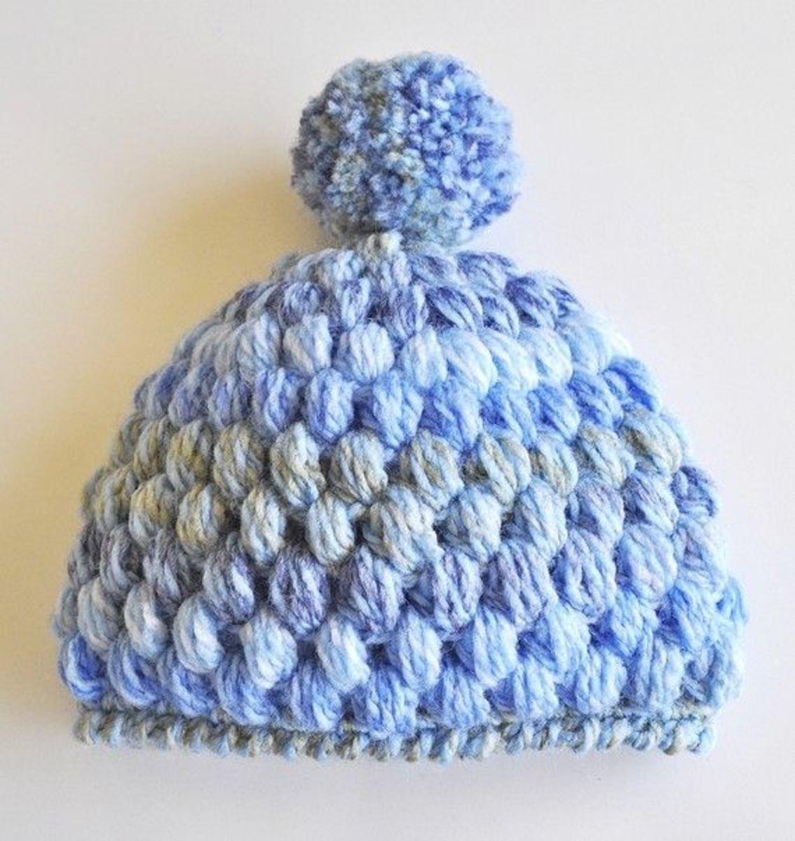 Crochet Puff Stitch Baby Beanie