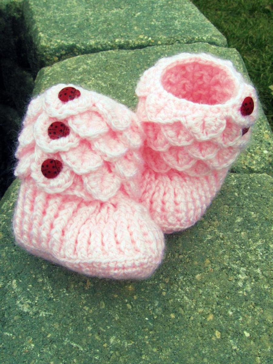 Crocodile Stitch Crochet Booties