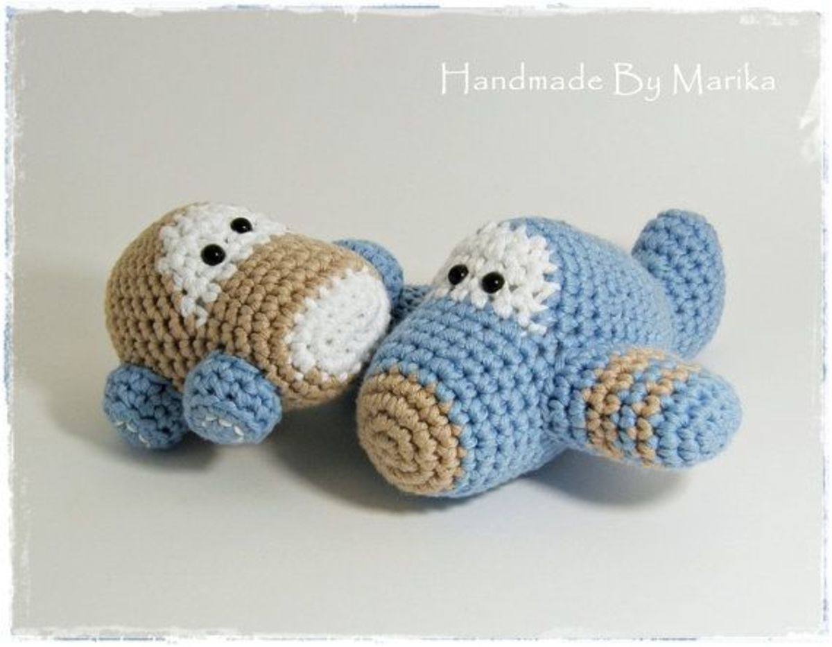Amigurumi car and airplane Baby Rattles