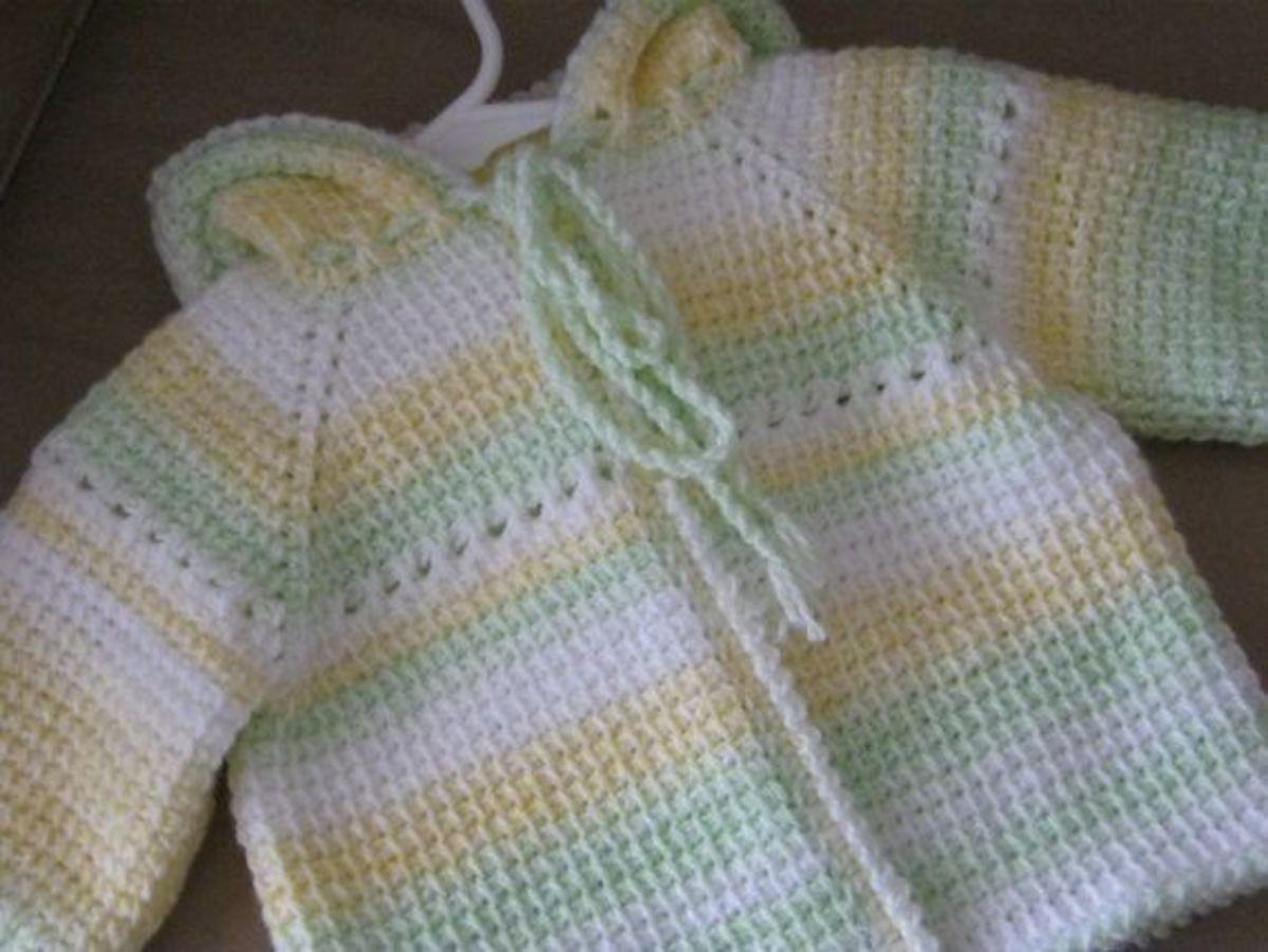 Tunisian Crochet multi-colored baby sweater