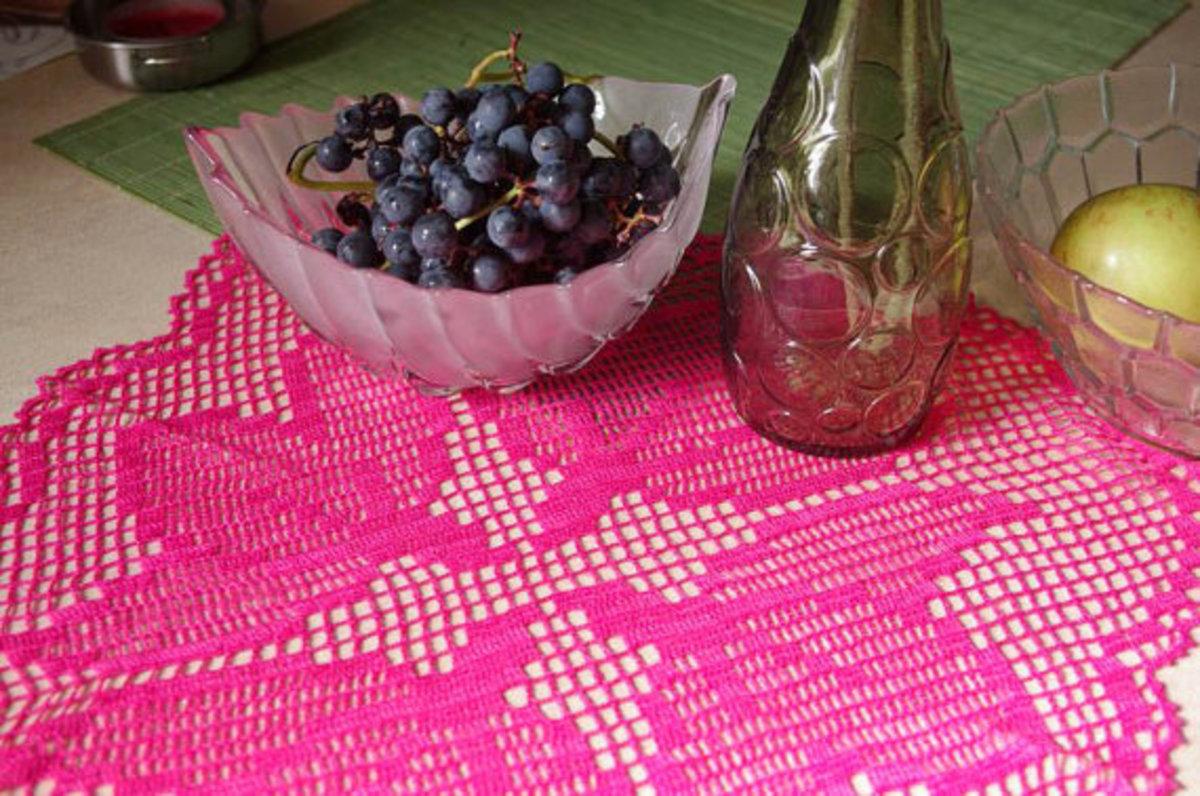 Filet Crochet Pink Lace Doily