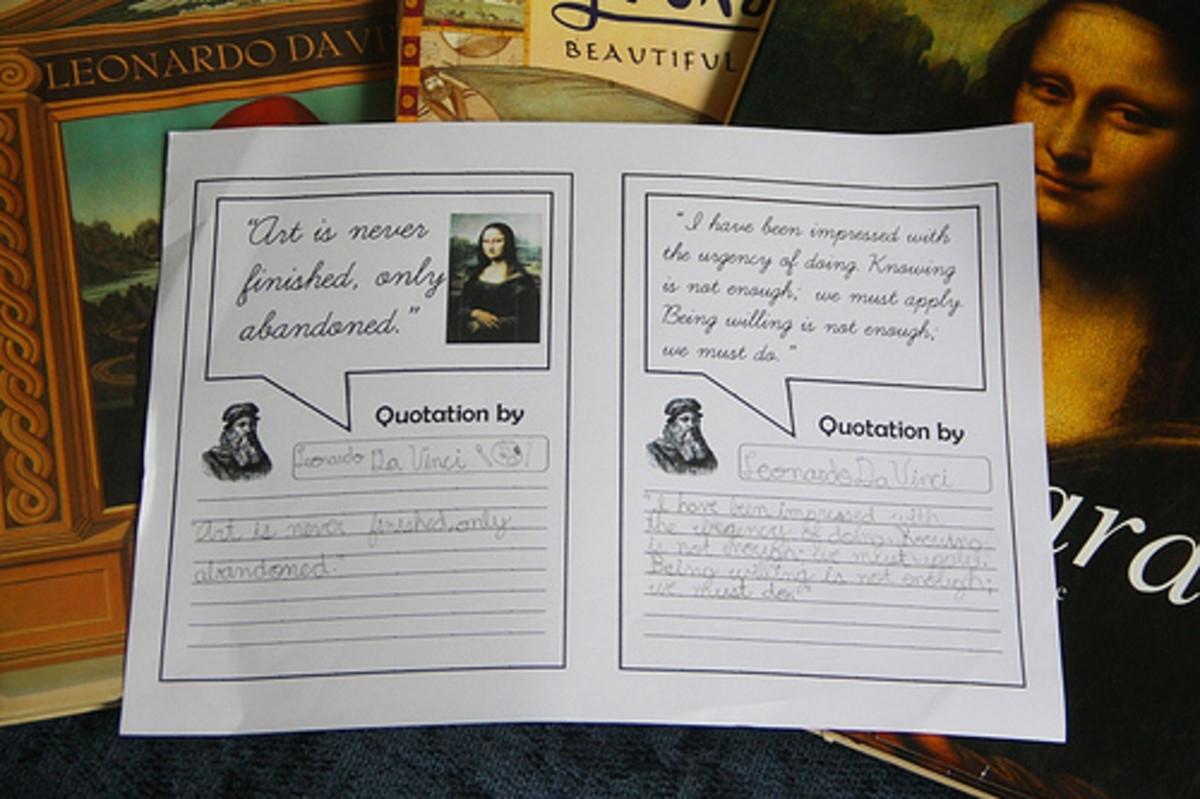 Da Vinci Quotations for Copywork