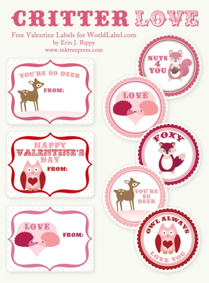 free printable Valentine's Day labels at worldlabel.com by Erin J. Rippy