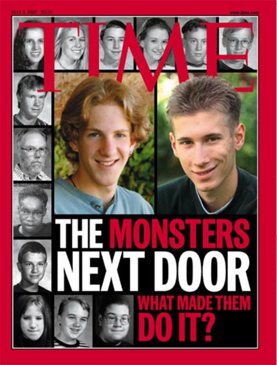 The Columbine killers on Time Magazine cover. One was a psychopath, the other not. Can you tell which one?