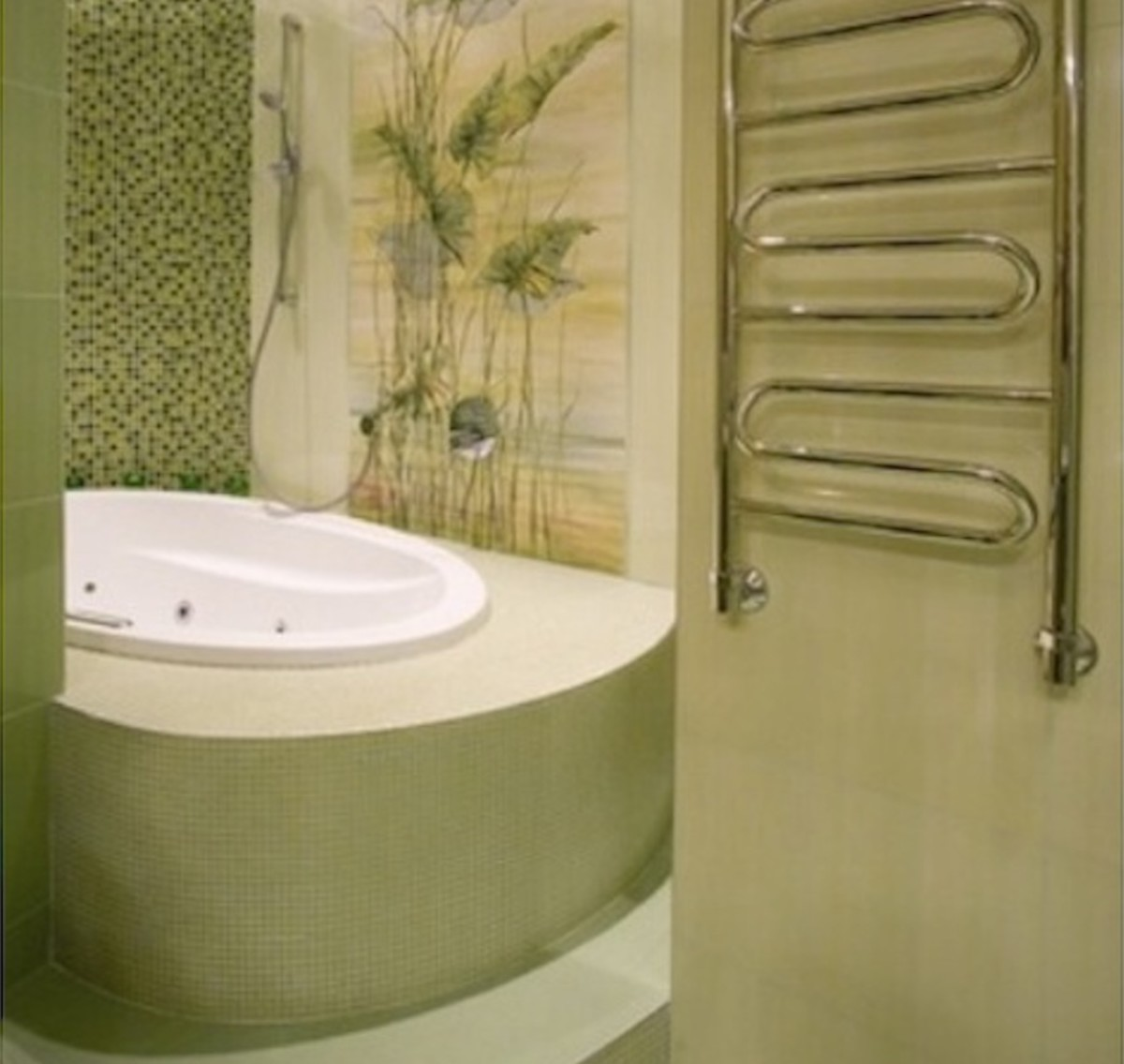 This bathroom, done in a relaxing, soothing Spa Green color, provides a welcome respite from the stresses of daily life.