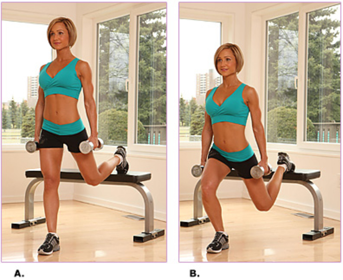 super hard bench lunges - take your exercise up a level - use weights and a bench - beautiful blond lady in teal two piece exercise outfit