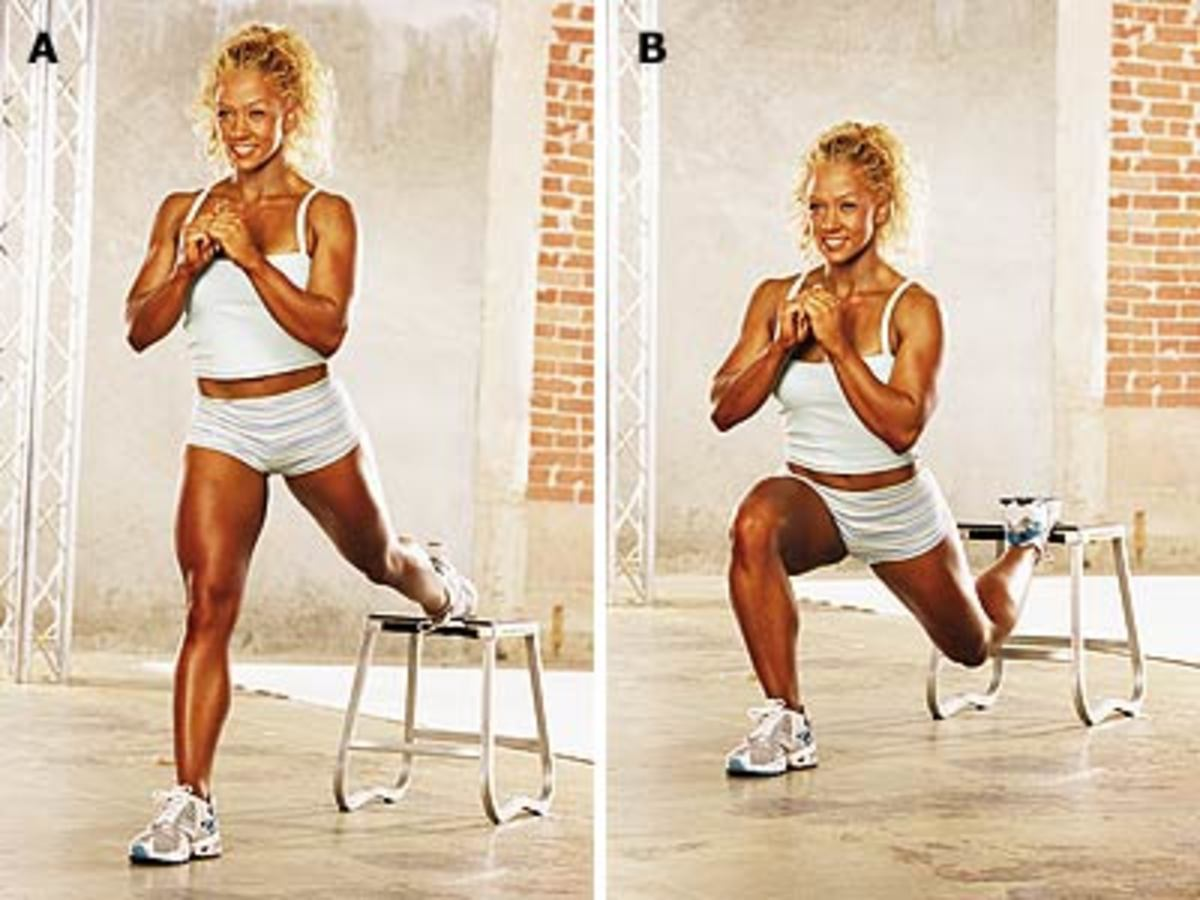 One Leg dipping lunges demonstrated in split window with blond lady in white tank top and white shorts