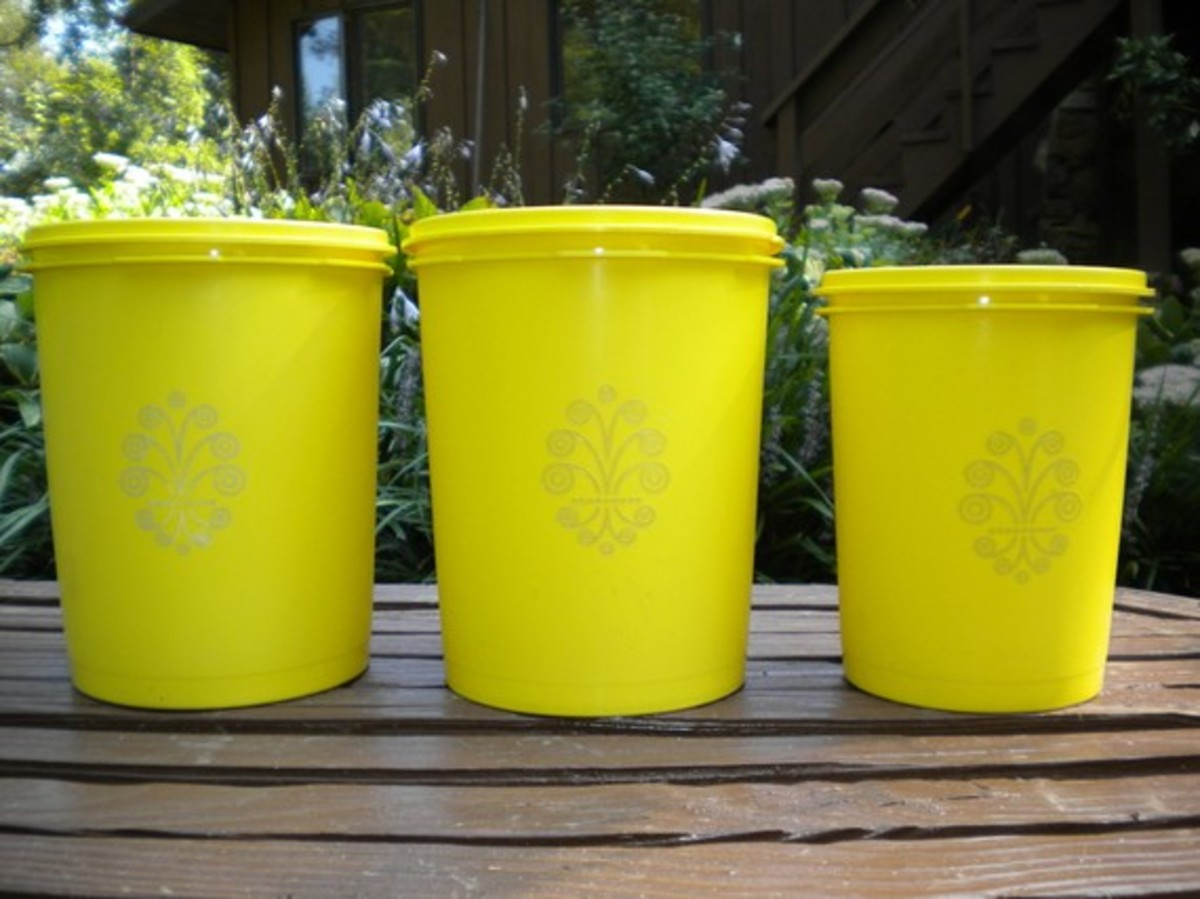 Yellow cannisters, also found on etsy.