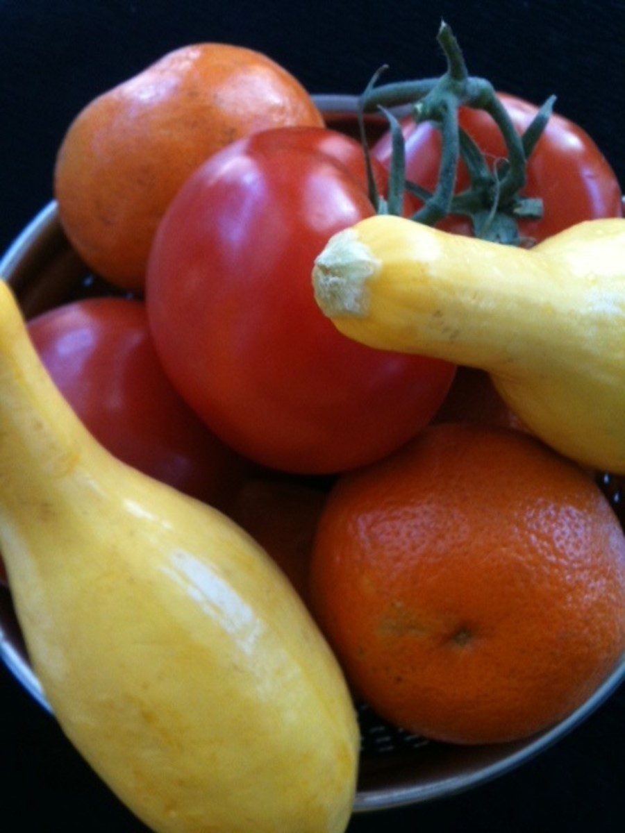Choosing the right foods packed with vitamins like Vitamin C in tomatoes and tangerines and Vitamin A in squash.