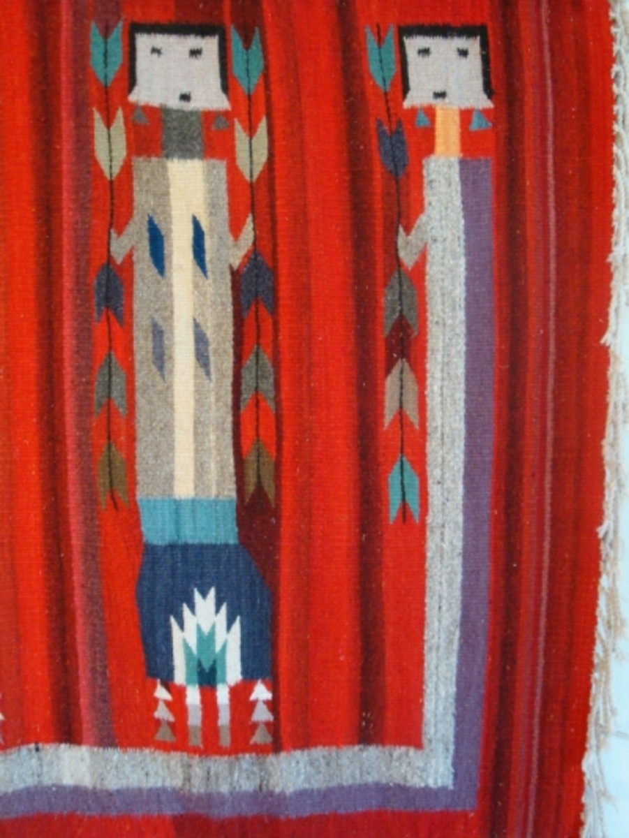 Photo part 1 of 5 - Yei Rainbow guardian forms the border of three sides of the rug (right side)