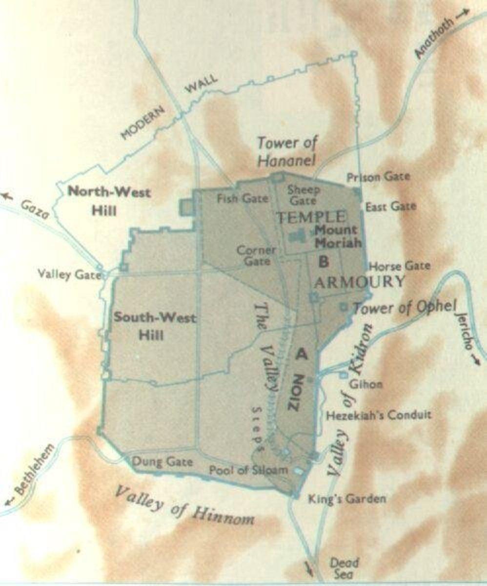 Map of Nehemiah's Wall of Jerusalem