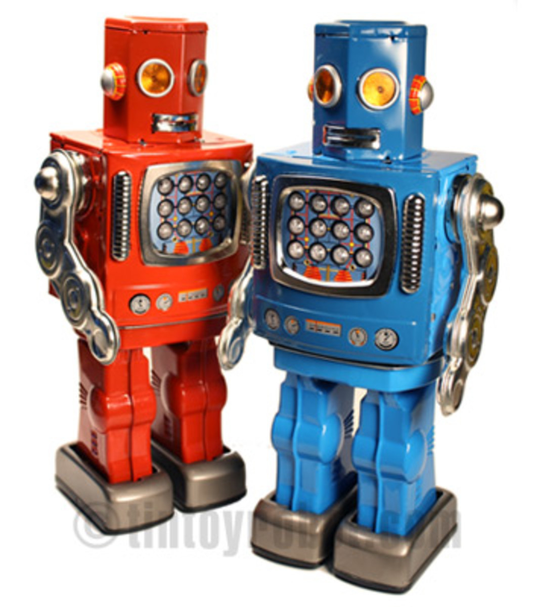 Modern tin robots in a retro style. From tinytoyrobots.com