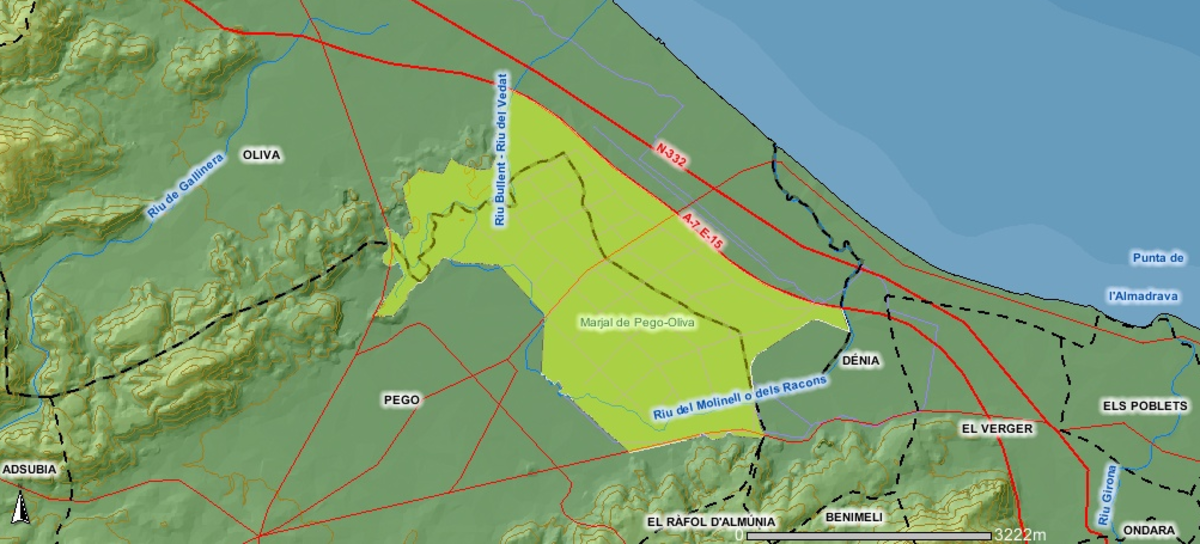 map of the Pego-Oliva Natural marsh Park