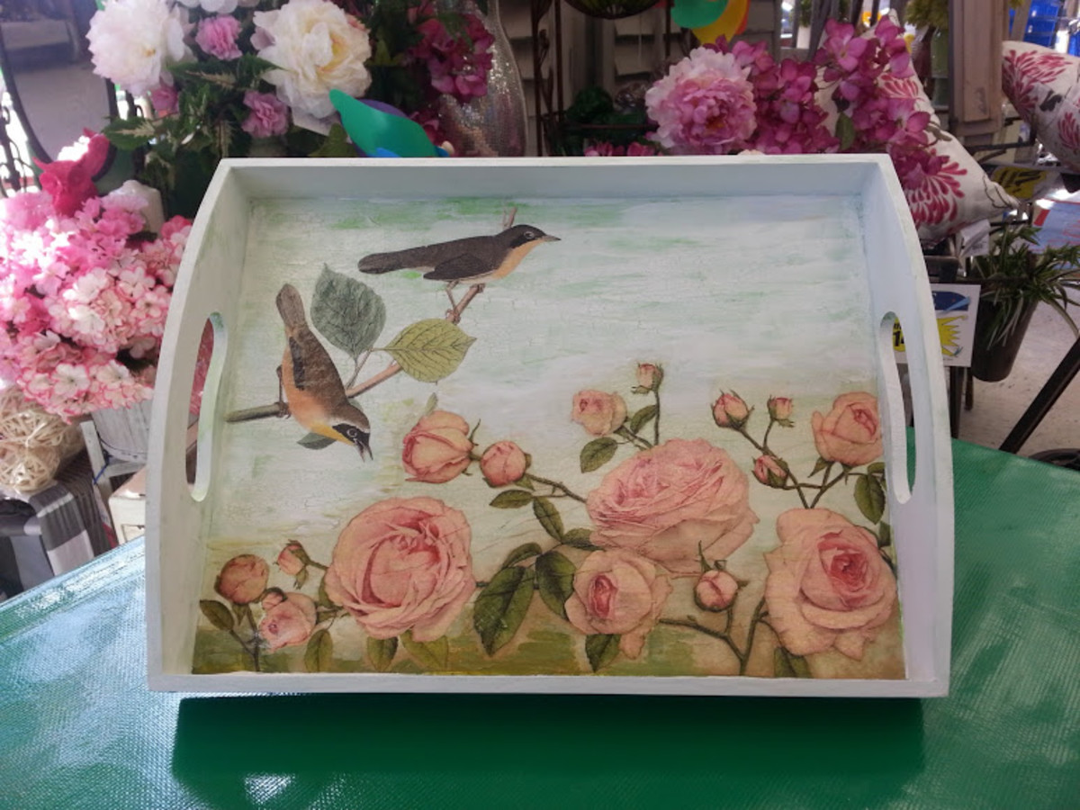 Beautiful tray decoupaged with roses and birds