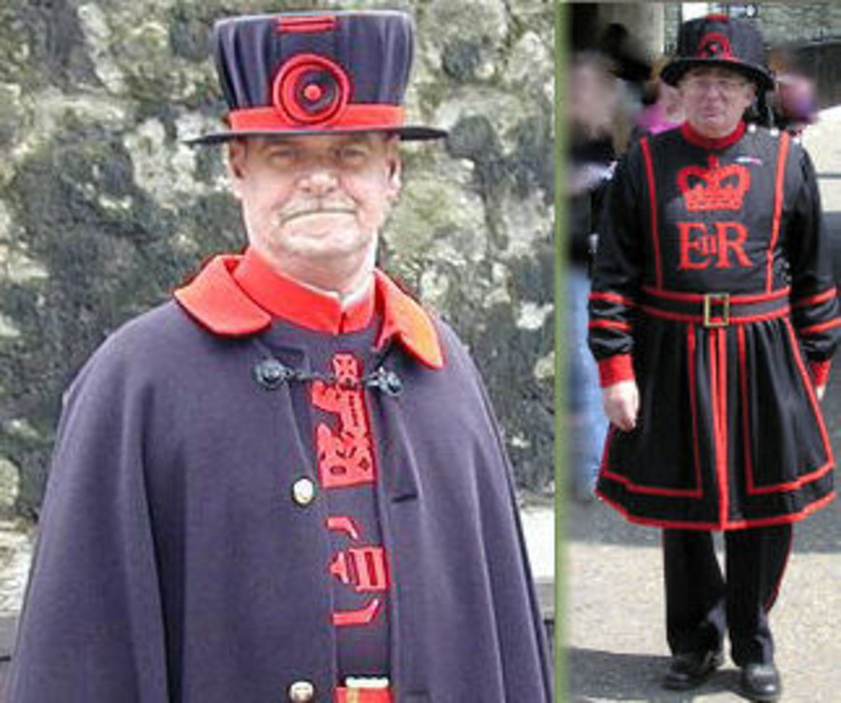 1: released into public domain by author StoatBringer ~ wikipedia project. See: http://en.wikipedia.org/wiki/File:Beefeater_at_tower_of_london.jpg ~ ~ 2: released into public domain by author Arpingstone. See: http://en.wikipedia.org/wiki/File:Yeoma