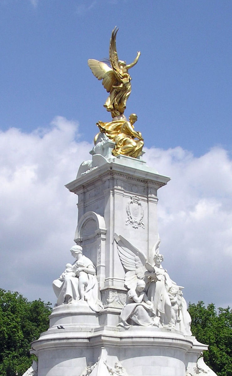 'This work has been released into the public domain by its author, Arpingstone'.  See: http://en.wikipedia.org/wiki/File:Victoria.memorial.london.arp.jpg