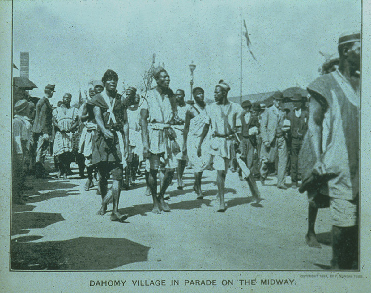 PEOPLE OF DAHOMEY, AFRICA, ON PARADE AT THE COLUMBIAN EXPOSITION