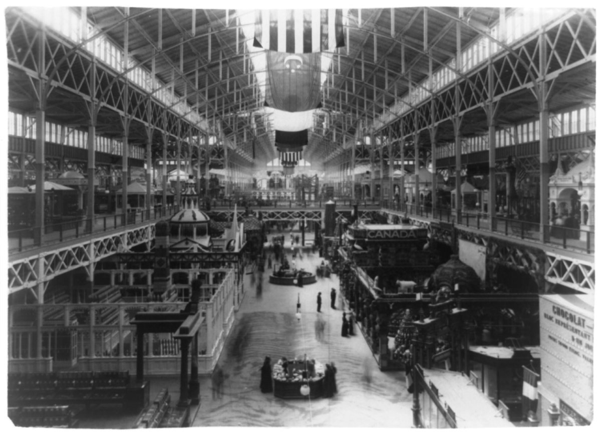 INTERIOR VIEW OF ONE EXHIBIT HALL, COLUMBIAN EXPOSITION