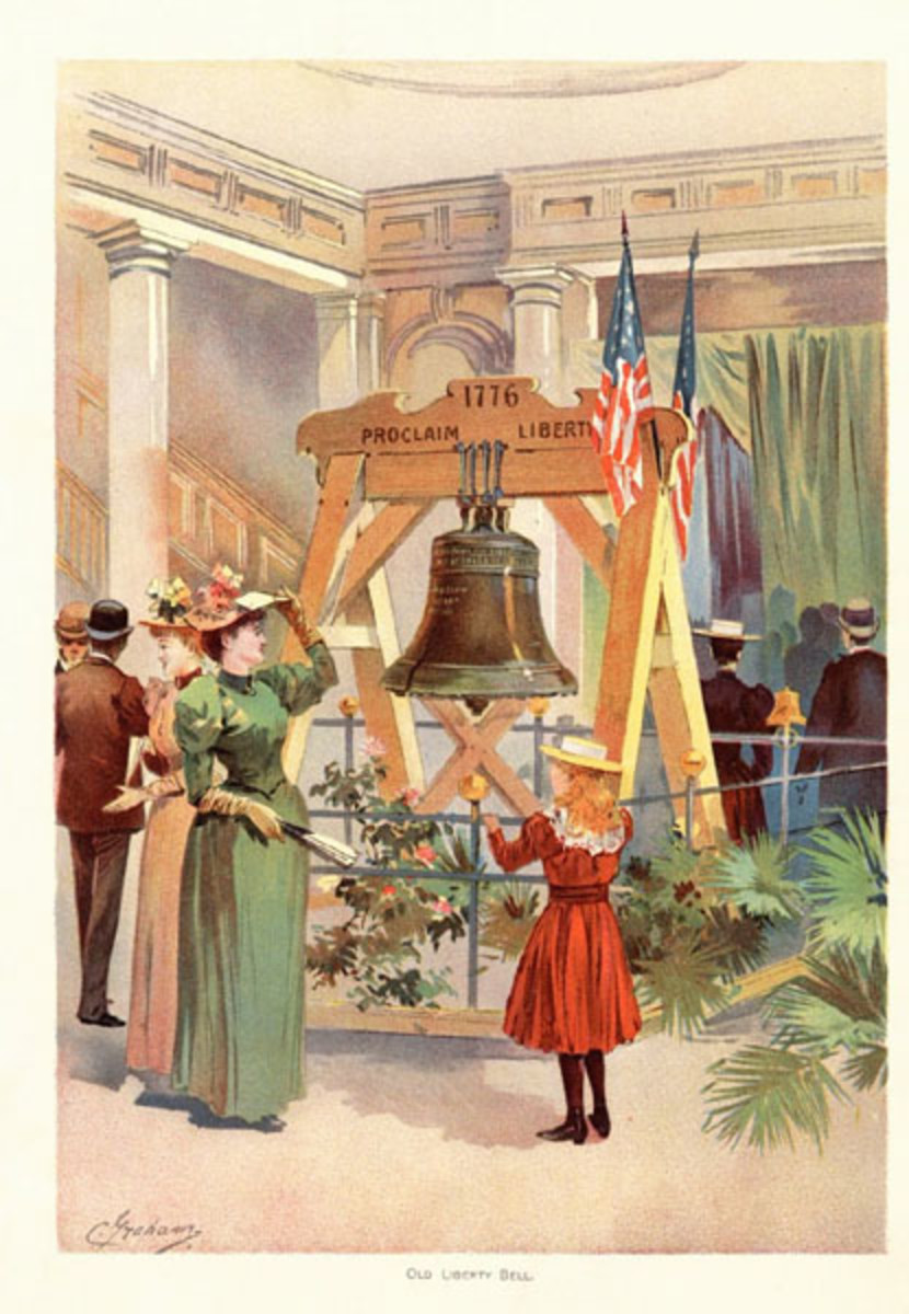 THE LIBERTY BELL ON DISPLAY AT THE COLUMBIAN EXPOSITION
