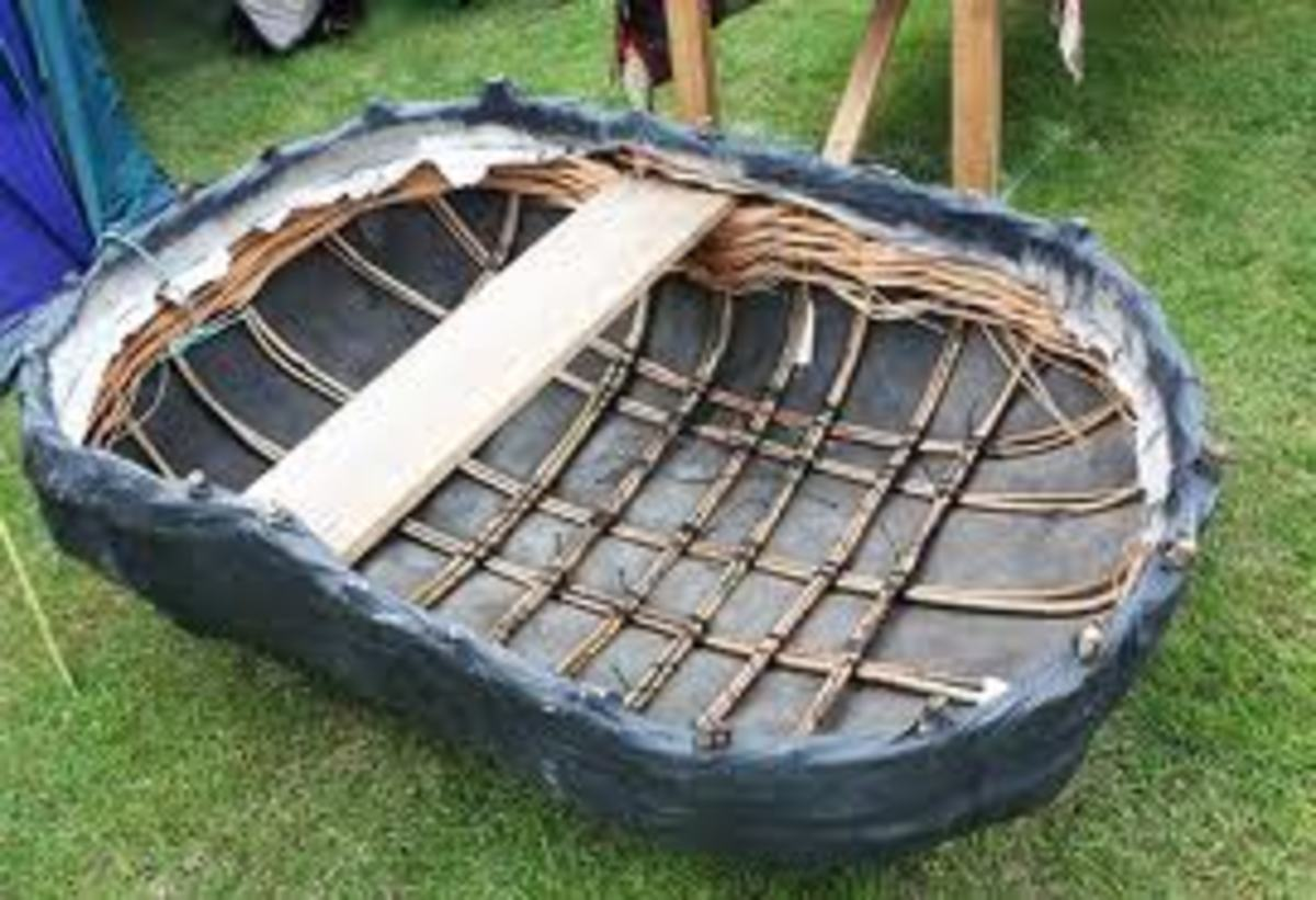 A view of the inside of an Irish currach/coracle