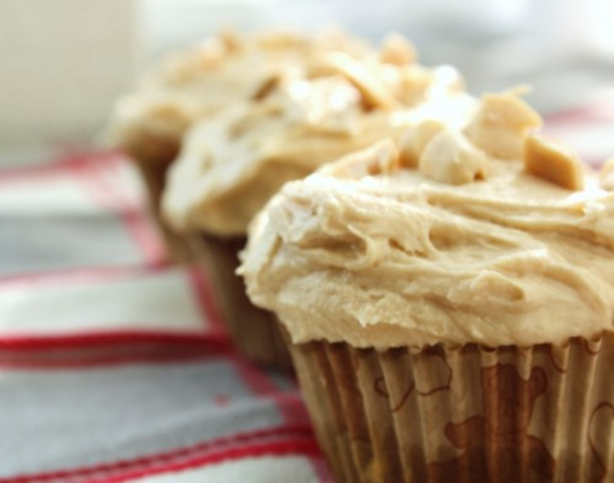 With delicious peanut butter frosting.