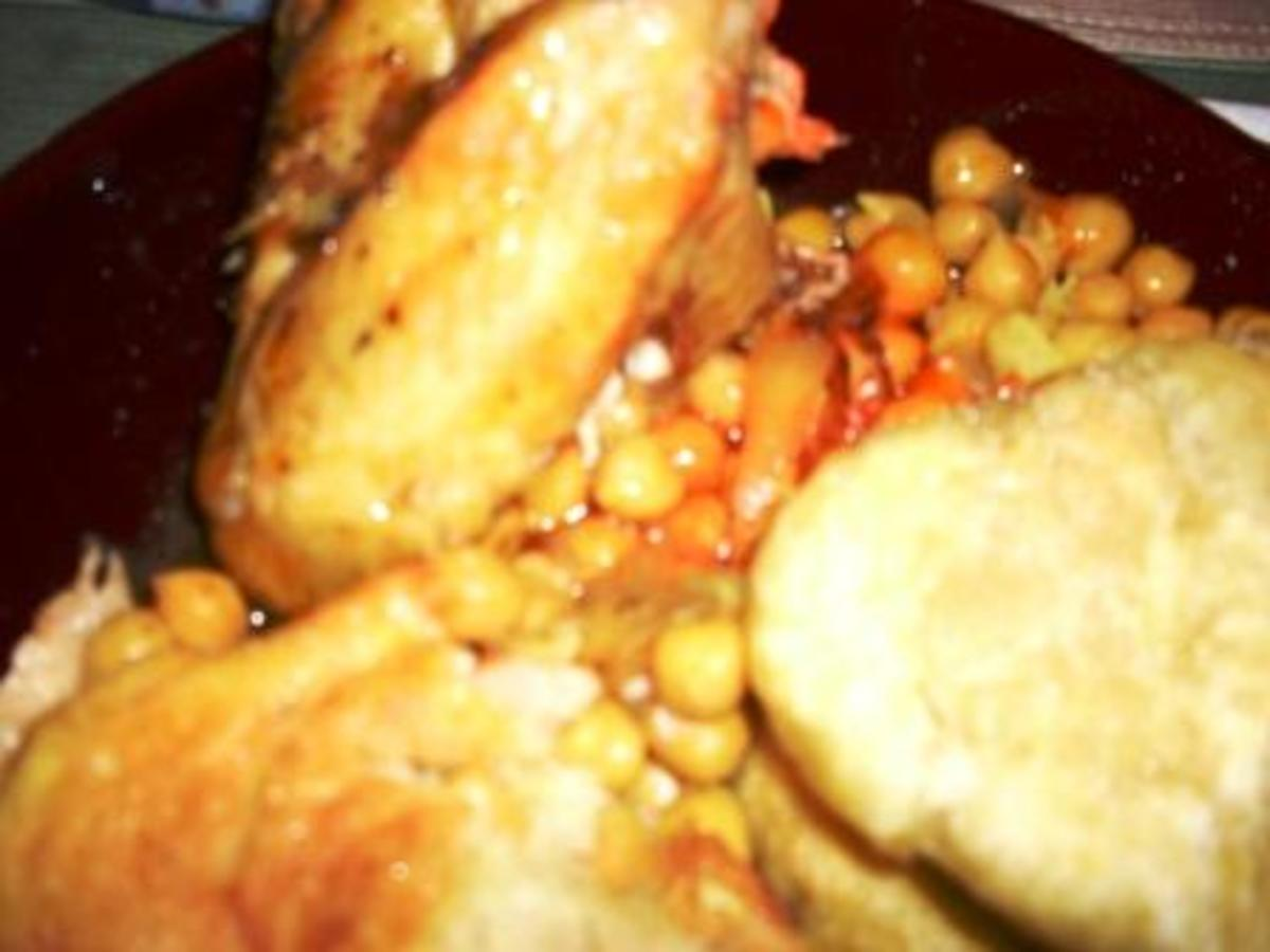 Curried chicken wings, chick peas and doubles