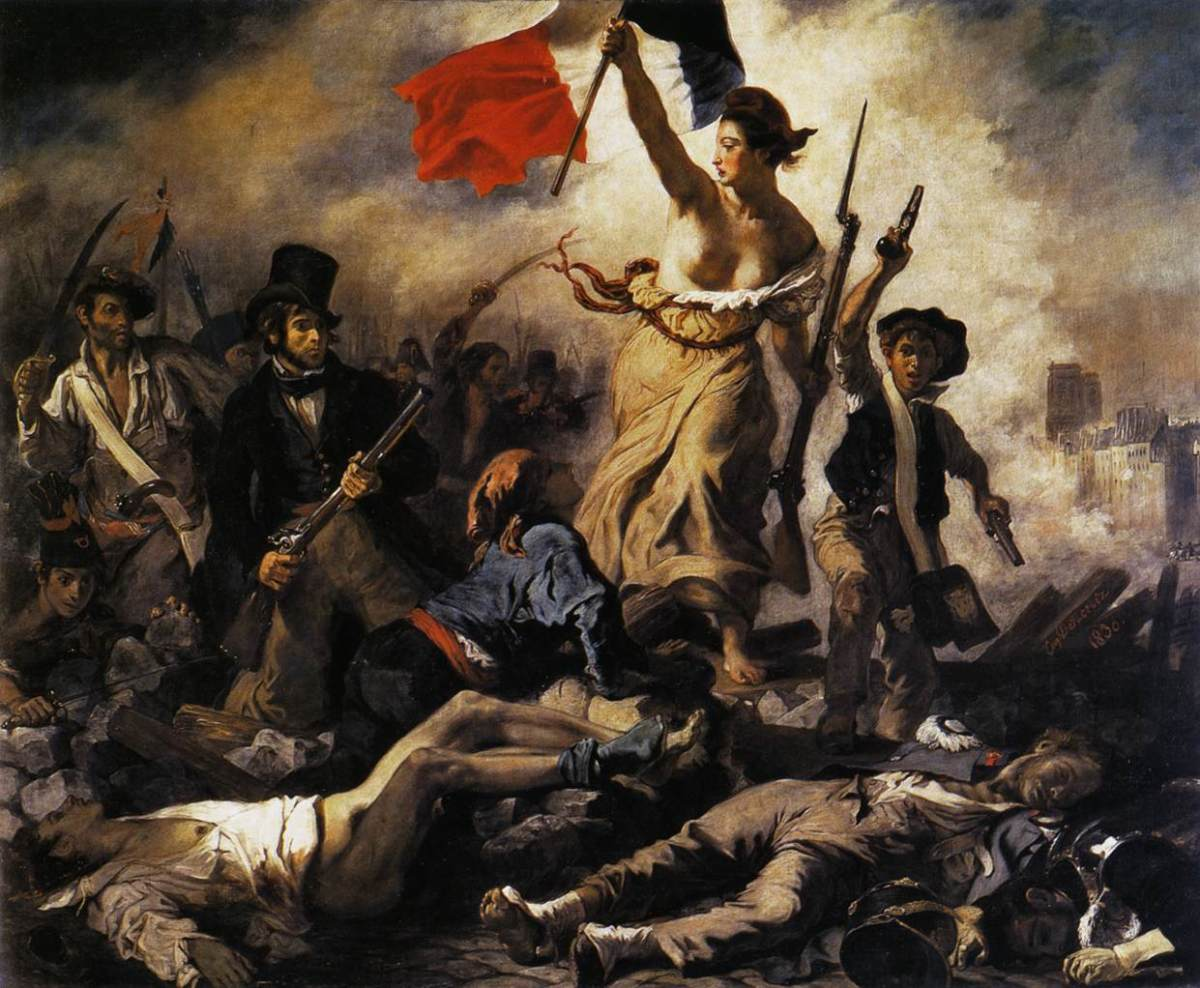 "Eugene Delacroix's ""Liberty Leading the People"" (French: La Libert guidant le peuple) commemorating the July Revolution of 1830 in France."
