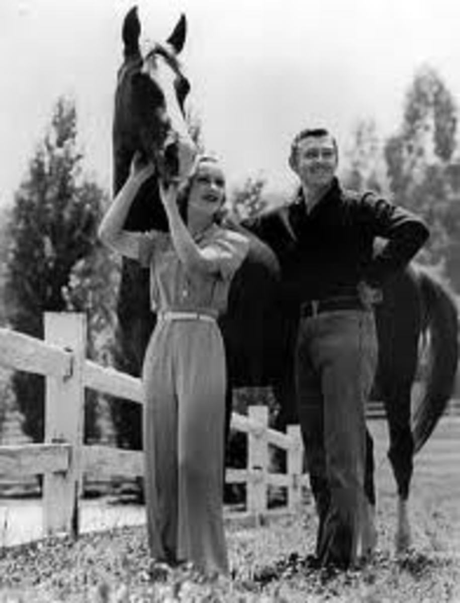 Clark Gable in Levis with wife, Carole Lombard