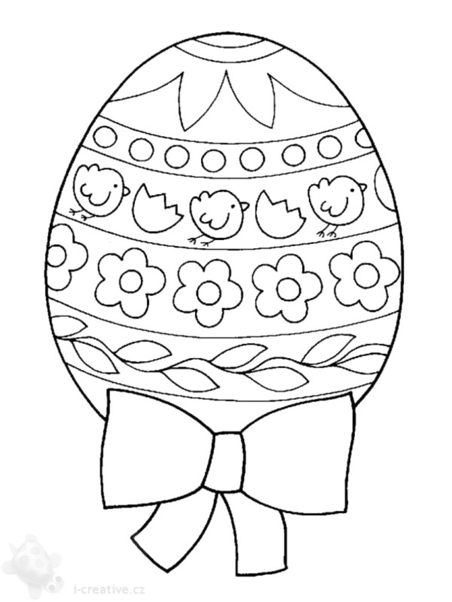 Big detailed 'design your own' Easter egg featuring chicks, a bow and spring flowers