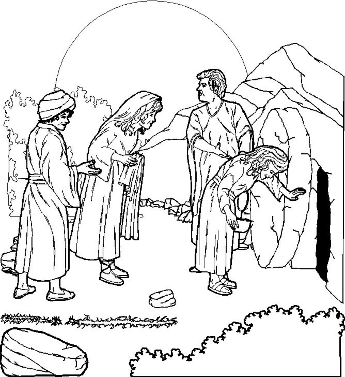 Empty tomb on Easter morning colouring picture