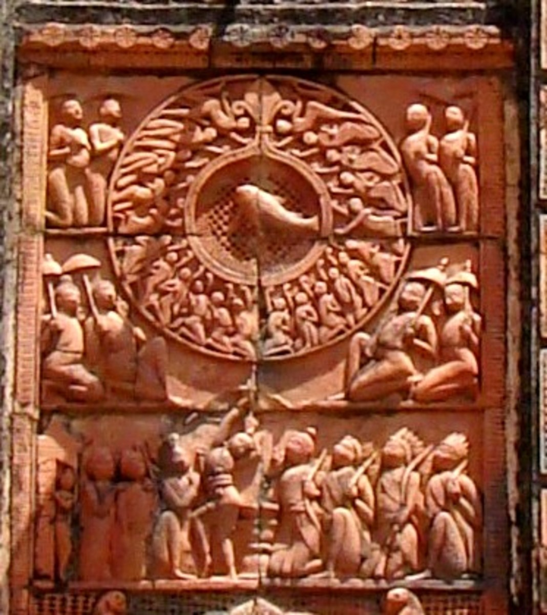 A scene from the epic Mahabharata where the ace archer Arjuna is aiming at the fish hung high up. From the Navaratna temple of Chhoto taraf.