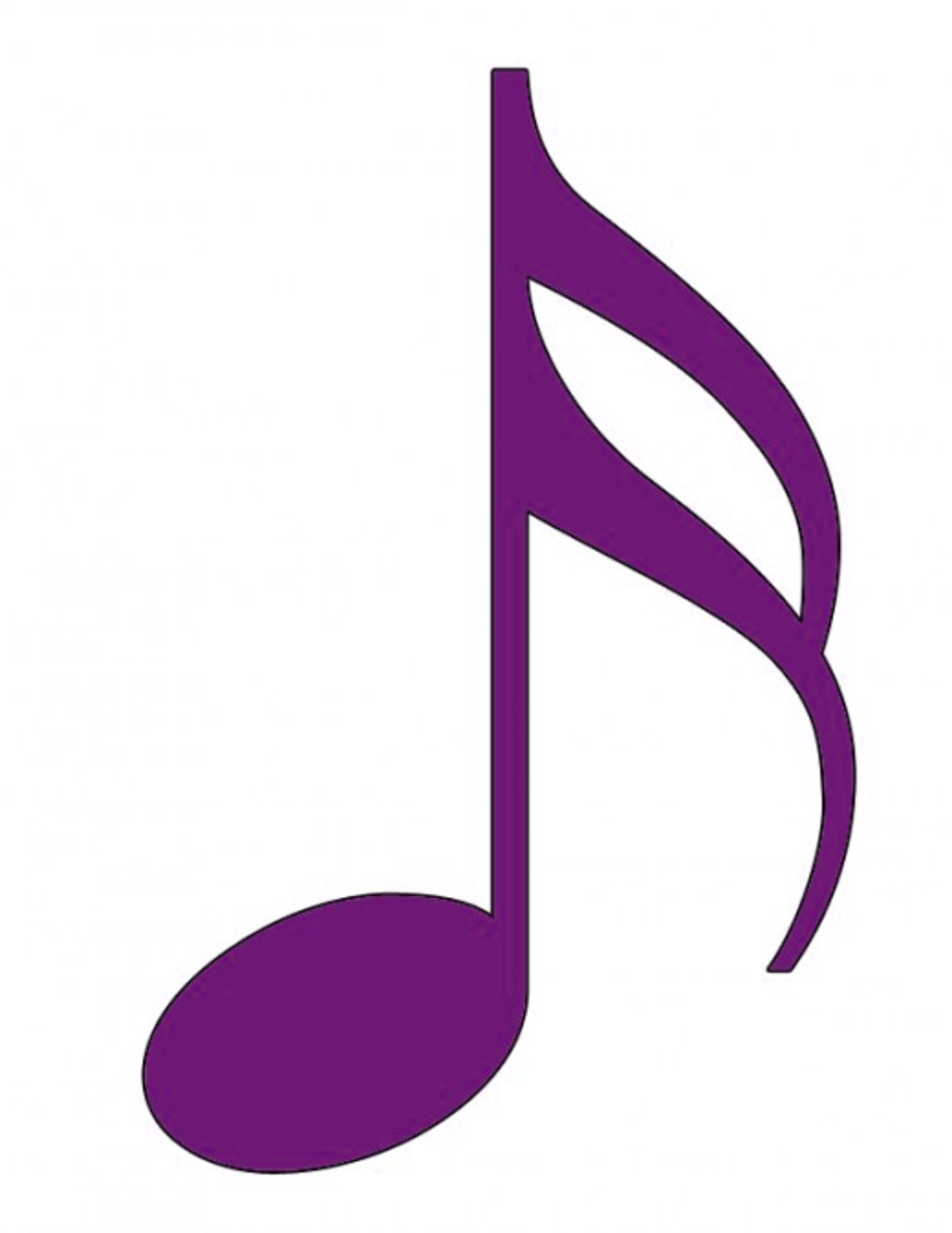 Purple sixteenth note with black border.