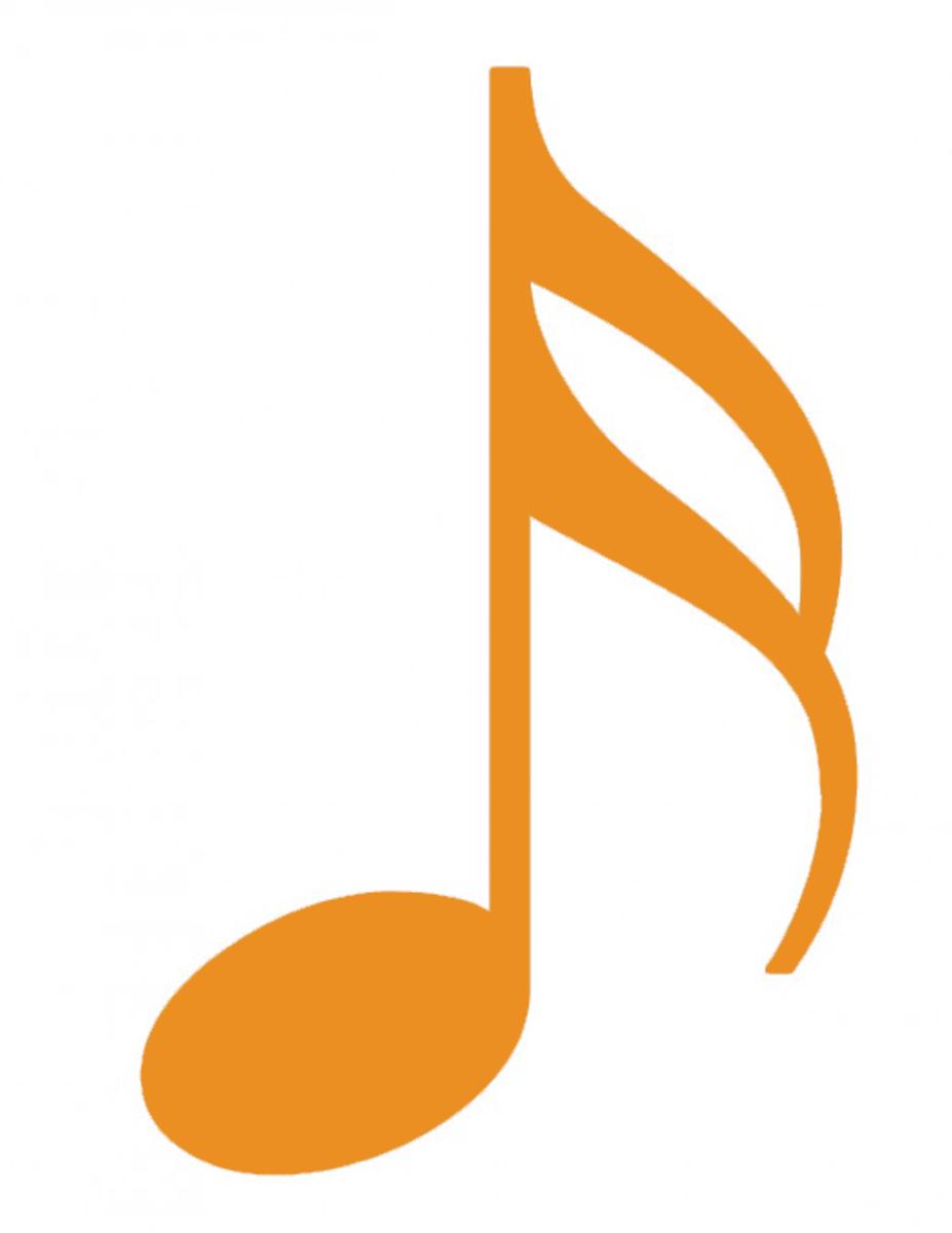 Solid orange sixteenth note clip art.