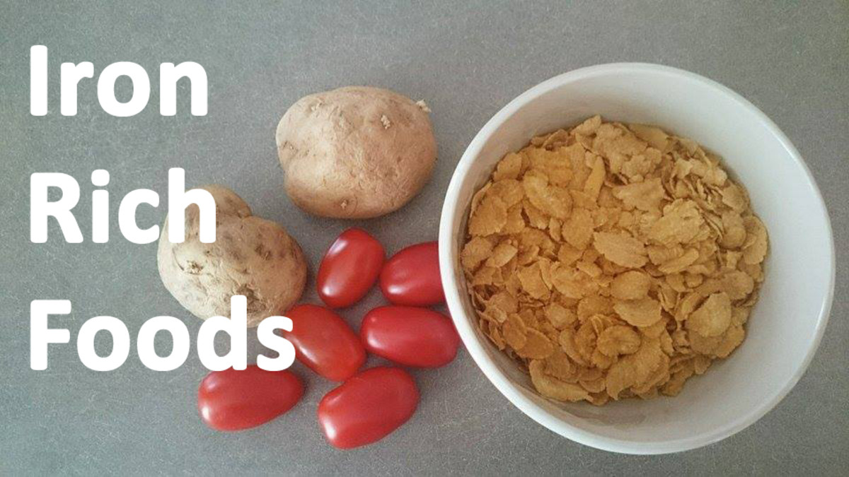 Cereal has anywhere from 1-22 milligrams of iron per serving. One baked potato has 2 milligrams. And half a cup of tomatoes has about 2 milligrams of iron as well.