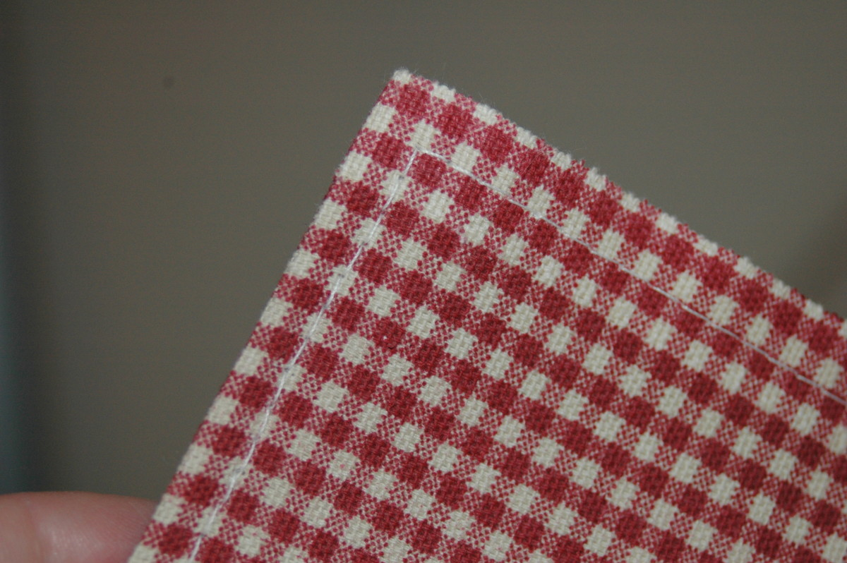 Finished napkin with top stitch showing