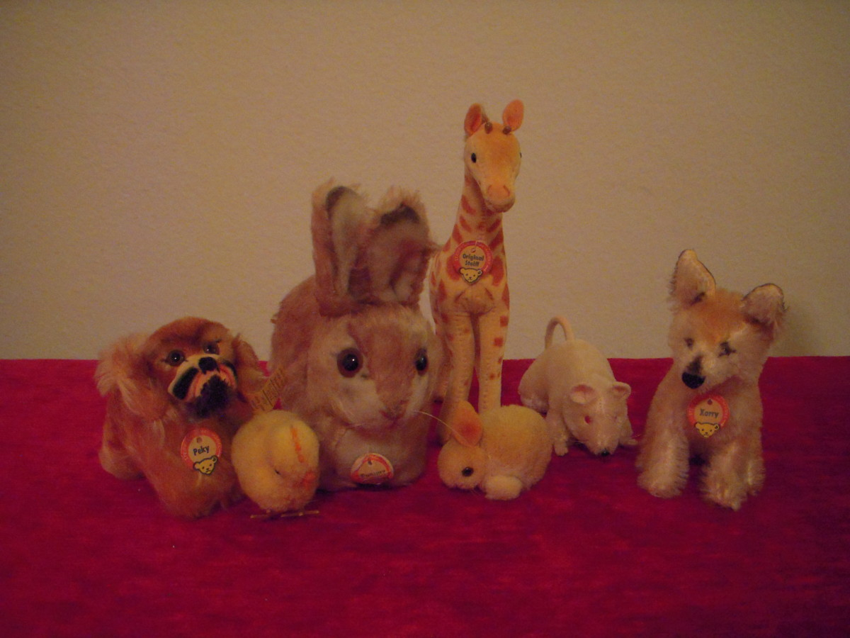 Various Steiff animals pose for a family portrait